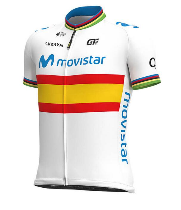 MOVISTAR TEAM Spanish Champion Cykeltrøjer med Korte ærmer Outlet