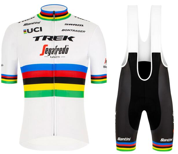 2020 TREK - SEGAFREDO Road bike world champion Set (Cykeltrøjer med Korte ærmer Outlet + Korte Cykelbukser Bib)