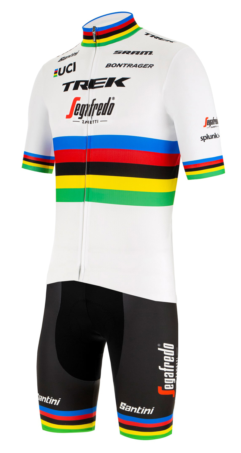 TREK - SEGAFREDO 2020 Road bike world champion Set Cykeltrøjer med Korte ærmer Outlet + Korte Cykelbukser Bib